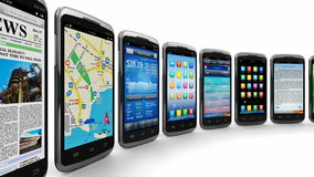 Smartphones and mobile applications. Telecommunication and mobility concept: moving row of modern black glossy smartphones with mobile applications isolated on