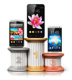 Smartphones or mobile phones on pedestal Stock Photos