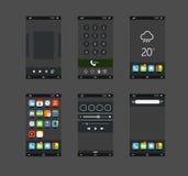 Smartphones modernes avec différentes applications Images libres de droits