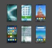 Smartphones modernes avec différents écrans d'application Images libres de droits