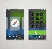 Smartphones modernes avec l'application différente Photographie stock libre de droits