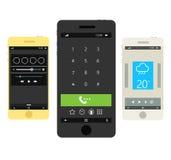 Smartphones modernes avec l'ui différent Images libres de droits
