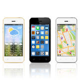 Smartphones moderni con i widget sugli schermi Fotografia Stock