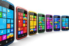 Smartphones moderni con l'interfaccia dello schermo attivabile al tatto royalty illustrazione gratis