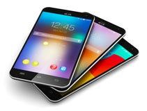 Smartphones moderni dello schermo attivabile al tatto Fotografia Stock Libera da Diritti