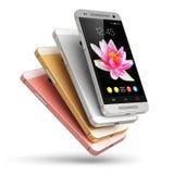 Smartphones moderni dello schermo attivabile al tatto illustrazione vettoriale