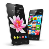 Smartphones moderni dello schermo attivabile al tatto illustrazione di stock