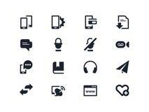 Smartphones och kommunikationssymboler Lyra serie Royaltyfria Foton