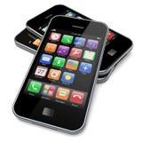 Smartphones op een wit Stock Afbeeldingen