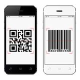 Smartphones with QR and bar code on screen isolated on white background. Vector illustration Stock Photo