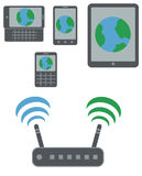 Smartphones, qwerty phone and slider with internet earth icon on. Display connected to wi-fi via router isoladed  on white background Stock Photos