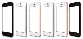 Smartphones red, gold, rose, silver, black and black polished - blank screen and isolated on white background, high resolution.  royalty free illustration