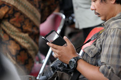 Smartphones. Reporters were sent a message by using a smartphone in the city of Solo, Central Java, Indonesia Stock Photos
