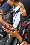 Smartphones. Reporters were sent a message by using a smartphone in the city of Solo, Central Java, Indonesia Royalty Free Stock Photos