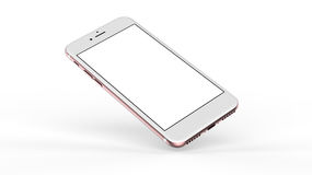 Smartphones rosa dell'oro con lo schermo in bianco Fotografie Stock Libere da Diritti