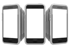 Smartphones. Row of smart phones that looks like domino Stock Images