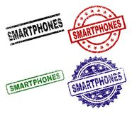 Scratched Textured SMARTPHONES Seal Stamps. SMARTPHONES seal prints with damaged style. Black, green,red,blue vector rubber prints of SMARTPHONES caption with royalty free illustration