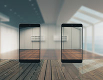 Smartphones transparentes abstratos Imagens de Stock