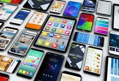 Smartphones und Tablets Stockfotos