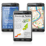 Smartphones with various Applications. Collect Smartphones with Stock Market Application, Business News and GPS Navigation Stock Photo