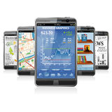 Smartphones with various Applications. Collect Smartphones with Stock Market Application, Business News, GPS Navigation and Reading Books Application Stock Photo