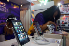 Smartphones. Various types of smartphones sold in an exhibition in the city of Solo, Central Java, Indonesia Stock Photos