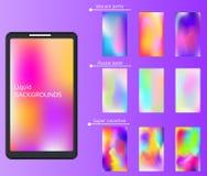Smartphones wallpaper, lockscreen. Trendy liquid colors. Smudged, holographic vibrant backgrounds for mobile. Smartphones wallpaper, lockscreen. Trendy liquid Royalty Free Stock Photos