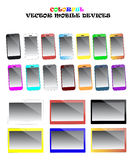 Smartphones y sistema coloridos del vector de las tabletas Fotos de archivo libres de regalías