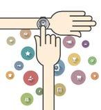 Smartwatch с красочными значками Ecommerce Стоковые Изображения