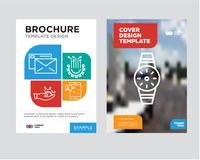 Smartwatch brochure flyer design template. With abstract photo background, Chat in Smartphone, Settings, Development, Mail minimalist trend business corporate Stock Images