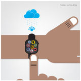 Smartwatch on businessman hand and internets connection sign Royalty Free Stock Photography
