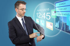 Smartwatch on Businessman Royalty Free Stock Photos