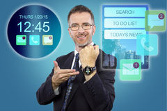 Smartwatch on Businessman Royalty Free Stock Images
