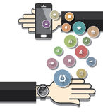 Smartwatch with Colorful Ecommerce Icons Royalty Free Stock Photography