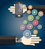 Smartwatch with Colorful Ecommerce Icons Royalty Free Stock Photos