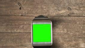 Smartwatch con greenscreen almacen de metraje de vídeo