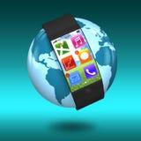 Smartwatch curvado ultra magro da relação com apps na terra ilustração do vetor