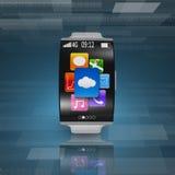 smartwatch curvo Ultra-leggero dello schermo con il cinturino dell'orologio d'acciaio illustrazione vettoriale