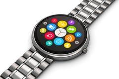 Smartwatch del lujo del acero inoxidable Imagen de archivo libre de regalías