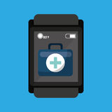 Smartwatch device health bag fisrt aid. Smartwatch device health bag first aid vector illustration eps 10 Stock Image