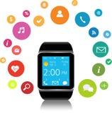 Smartwatch e icone dell'applicazione Fotografia Stock Libera da Diritti