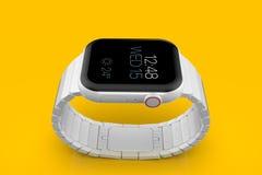 Smartwatch fictif en céramique blanc de rumeur de la montre 4 d'Apple, maquette images stock
