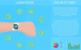 Smartwatch fitness tracker concept with icons of healthy, fitness, lifestyle and physical activity. Vector illustration. Smartwatch fitness tracker concept with Stock Images