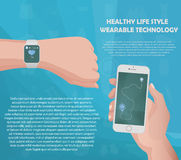 Smartwatch fitness tracker concept with icons of healthy, fitness and physical activity with your text in slots. Royalty Free Stock Photography