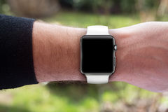 Smartwatch on hand - blank screen Royalty Free Stock Photos