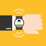 Smartwatch on hand. It can be used for a website, mobile application, presentation, corporate identity design, wherever you decide that you need is. Looks good stock illustration