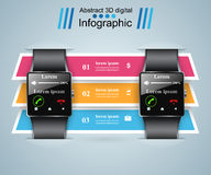 Smartwatch icon. Abstract infographic. 3d infographic design template and marketing icons. Smartwatch icon stock illustration
