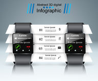 Smartwatch icon. Abstract infographic. 3d infographic design template and marketing icons. Smartwatch icon royalty free illustration