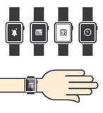 Smartwatch with Icons Stock Photography