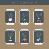 Smartwatch  with icons set illustration.  Royalty Free Stock Images